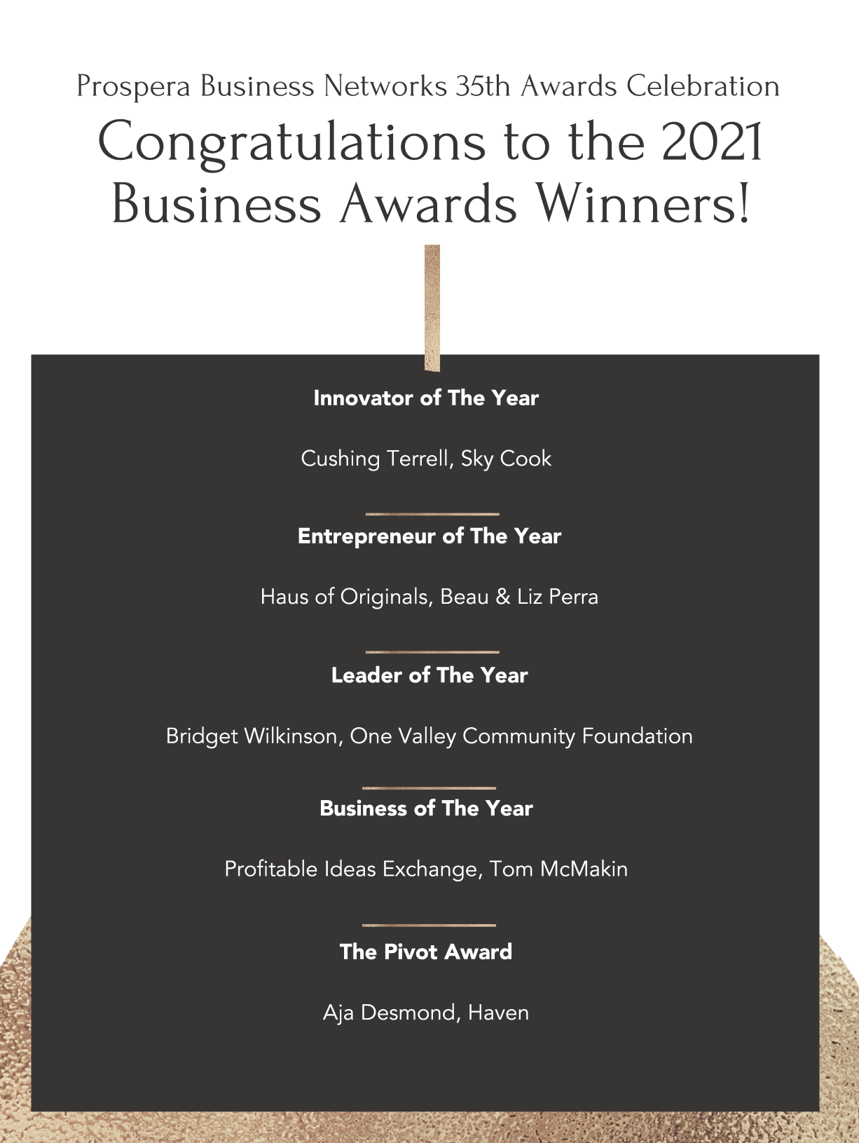 Congratulationsto The 2021 Business Awards Finalists1